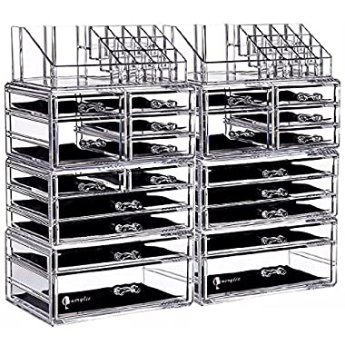 Cq acrylic 4 Drawers Clear Acrylic Cosmetic Makeup Storage Cube Organizer With Mirror. It Consists of 2 Separate Organizers, Each of Which can be Used Individually -9.4 x5.3 x7.3