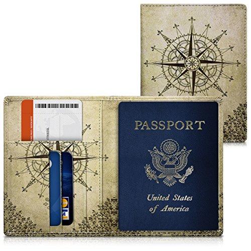 kwmobile Reisepass Hülle mit Kartenfächern - Kunstleder Ausweishülle Passhülle Kartenetui Tasche - Reisepasshülle in Dunkelbraun Beige
