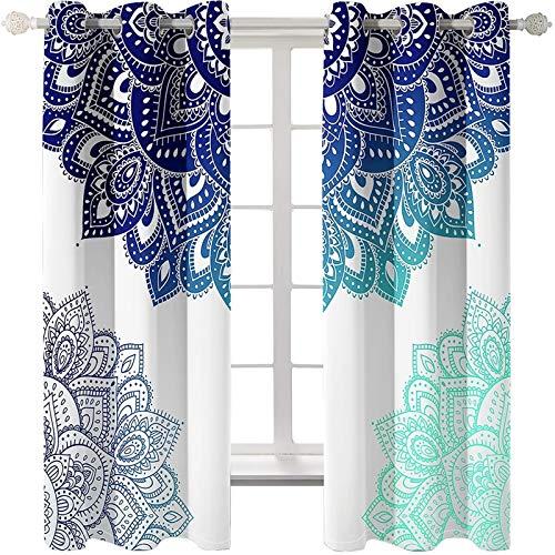 AmDxD 2 paneles de cortinas opacas de poliéster, cortinas opacas para ventanas mandala, cortinas de flores, lavables a máquina, color blanco, azul verde, 201,3 cm de ancho x 107,8 cm de largo