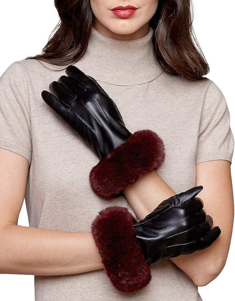 frr Leather Glove with Wine Rex Rabbit Fur Cuff