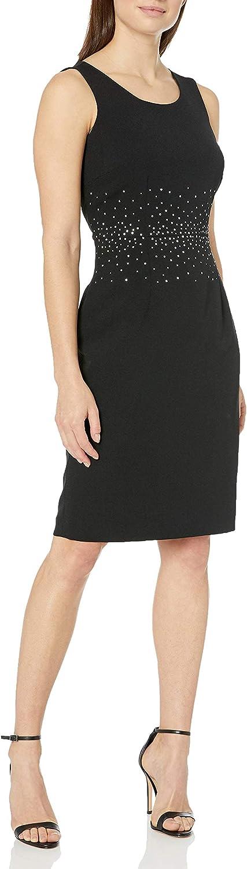 Kasper Women's Sleeveless Jewel Neck Sheath Dress with Center Waist Detail
