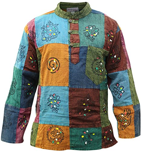 SHOPOHOLIC FASHION Männer Acid Washed Bunt Patchwork Hippie Grandad-Hemd Kurta Tops (XL)