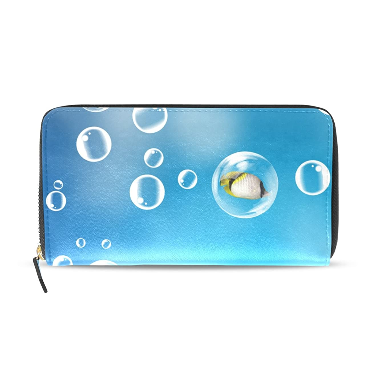 ミュート無力ジャーナル女性用ブルービーチ貝殻Oceanブリスターパターン長財布&財布ケースカードホルダー