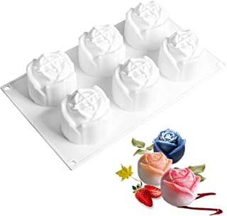 3D Rose Flower Shape Silicone Cake Chocolate Molds 6 Holes Bakeware French Dessert Mousse Cake Mold Silicone Molds for Bak...