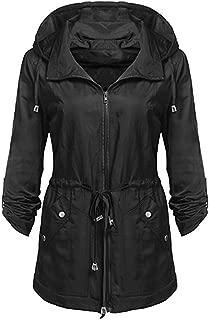 Women Casual Jacket Waterproof Lightweight Rain Detachable Hooded Windbreaker Coat
