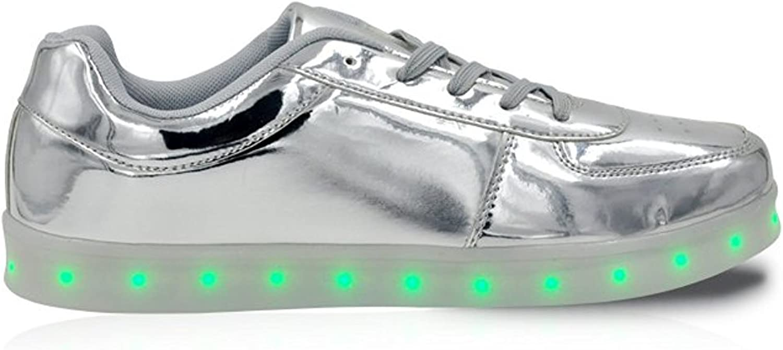 GleamKicks Unisex Classic Low Top Lace Up Women's Men's color Light LED Sneaker shoes