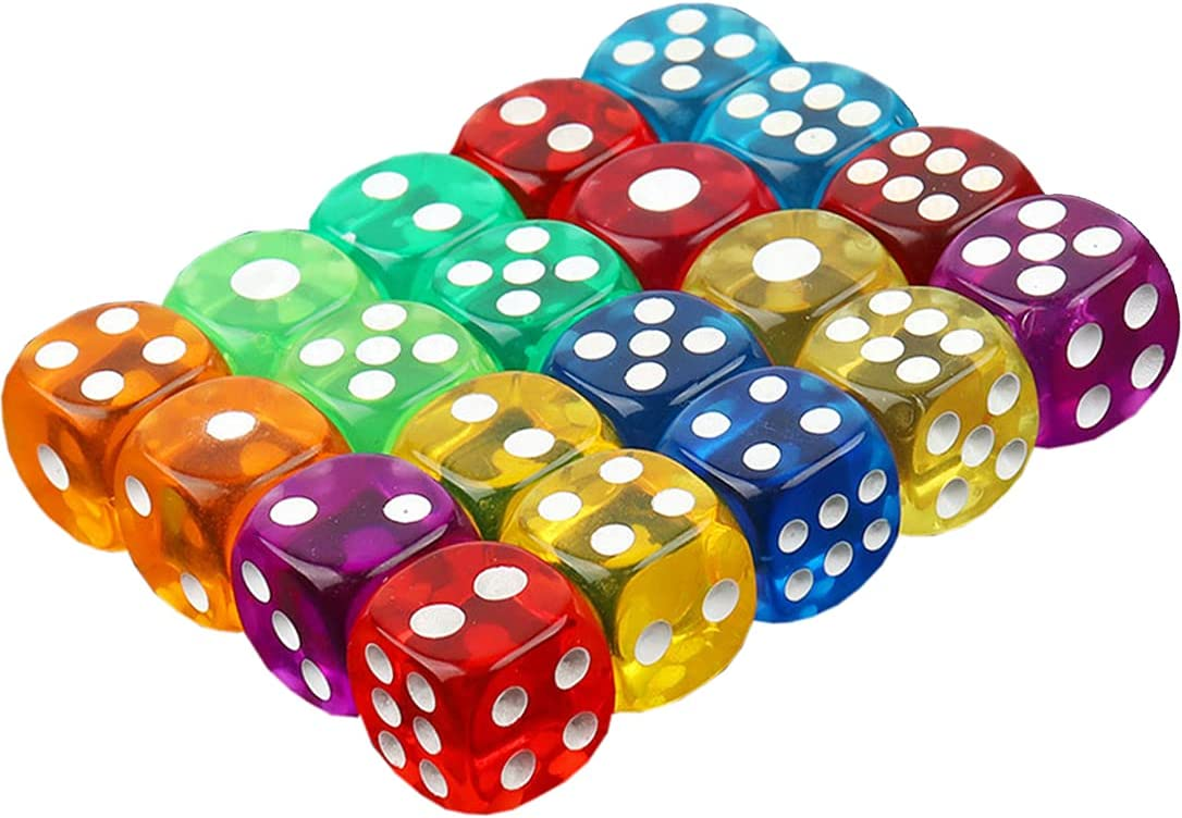 50Pcs Colorful Transparent half wholesale 6-Sided 16MM Game Rounde Acrylic Dice