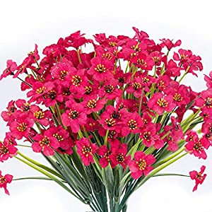 YUESUO 15 Bouquets Artificial Flowers Outdoor UV Resistant Fake Flowers No Fade Faux Plastic Plants Garden Porch Window Box Decorating (Rose Red)