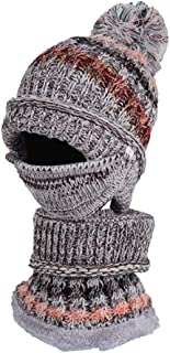 SHENTIANWEI Autumn and Winter Mixed Colors Plus Velvet Three-Piece Knit hat Scarf mask Rider Warm Thick Wool hat Female Winter (Color : Grey, Size : One Size)