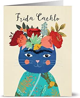 All Occasion Greeting Cards – 24 Pack - Unique Frida Cathlo Feline Design – KRAFT ENVELOPES INCLUDED – Blank Greeting Card – Glossy Cover Blank Inside – By Note Card Café