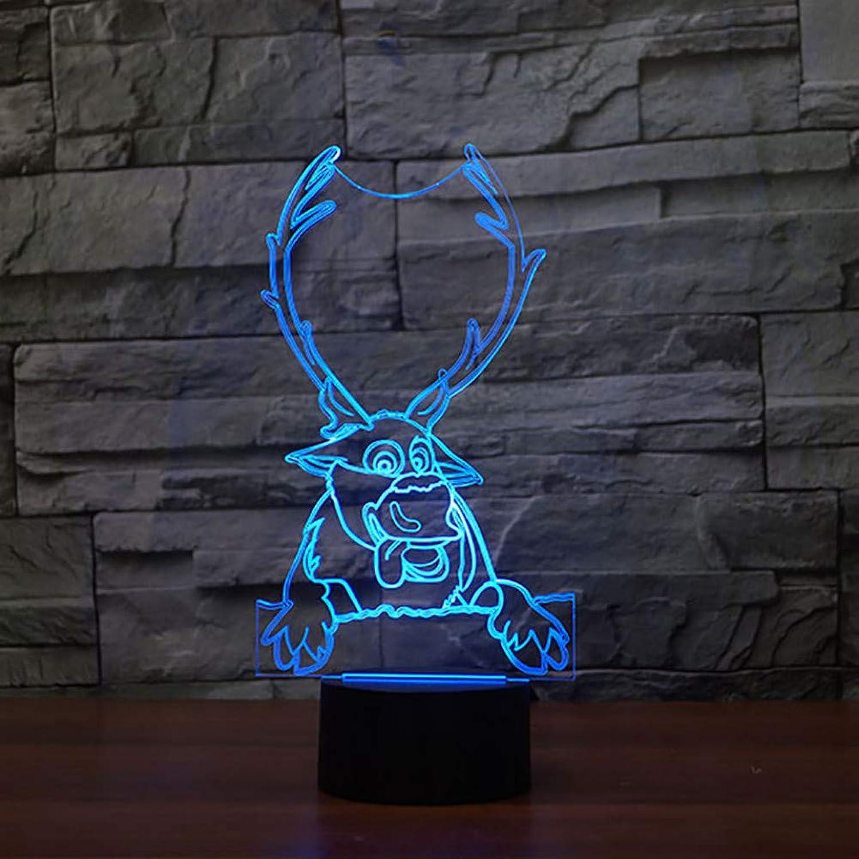 auténtico WZYMNYD WZYMNYD WZYMNYD 7 Colorido USB 3D LED Luz Nocturna Deer Modelado Dormitorio de los Niños Dormitorio de Dibujos Animaños Decoración del Sueo Iluminación para Niños Regalo Lámpara de Escritorio  saludable
