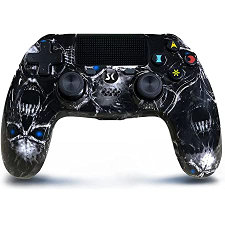 Wireless Controller for PS4, Black Skull Series Dual Vibration High Performance Gaming Controller for Playstation 4 /Pro/Slim/PC with Headset Jack, Touch Pad, Motion Control