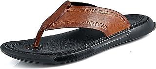 G&F Flip Flops Mens Sandalen Lederen Bovenste Rubber Zool Comfort Slippers Zomer Strand Zwembad Schoenen Outdoor (Kleur: B...