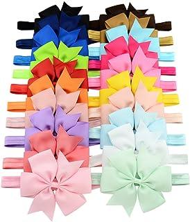 20 قطعة من عصابات الرأس بيبي جيرل 3 بوصة قابلة للتمدد ربطات شعر من الحرير المضلع إكسسوارات شعر للأطفال حديثي الولادة