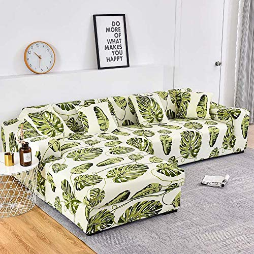 WXQY Funda de sofá con Estampado Floral, Esquina de Asiento, sofá Chaise Longue en Forma de L, Funda de sofá elástica, Funda de sillón A9, 2 plazas