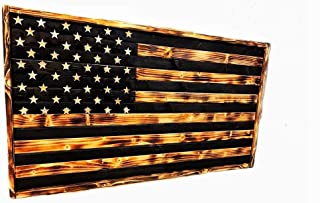burned wood flag