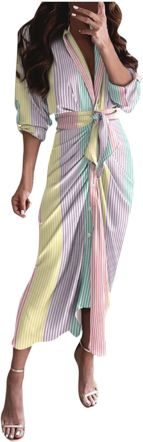 GCETTIC Dresses for Womens, Casual Womens Stripe Print Maxi Dress Loose Long Sleeve Cardigan Dress with Belted
