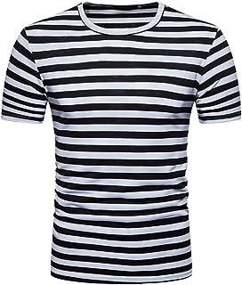 fe47da24a3 Camisetas Hombre Manga Corta,Venmo Hombres Verano Rayas Casual Cuello  Redondo Camisetas Deporte Ropa Deportiva