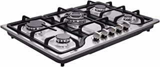 Deli-Kit DK257-B01 30 inch LPG/NG stovetop 5 Dual Fuel 4 Sealed brass burner Stainless Steel hob 110V AC pulse ignition cast iron support Gas Cooktops