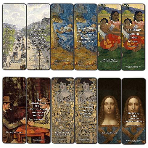 Creanoso Wijnoogst Beroemde schilderijen Bookmarks Set (60-Pack) - Duurste impressionisten Art Van Gogh Klimt Salvator Mundi Paul Gauguin - kleinigheidjes voor of Mannen Vrouwen Teens