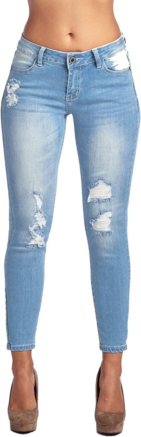 bluee Age Womens Destroyed Ripped Distressed Skinny Jeans