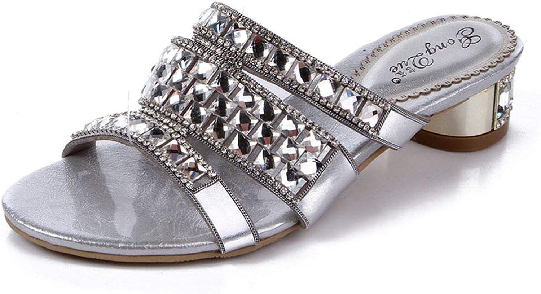 DYTTO Frau Hausschuhe Original Leder Diamant Kristall Bling Juwel Grobe Ferse Leuchtenden Rutschfest Dauerhaft Sommer Sandalen