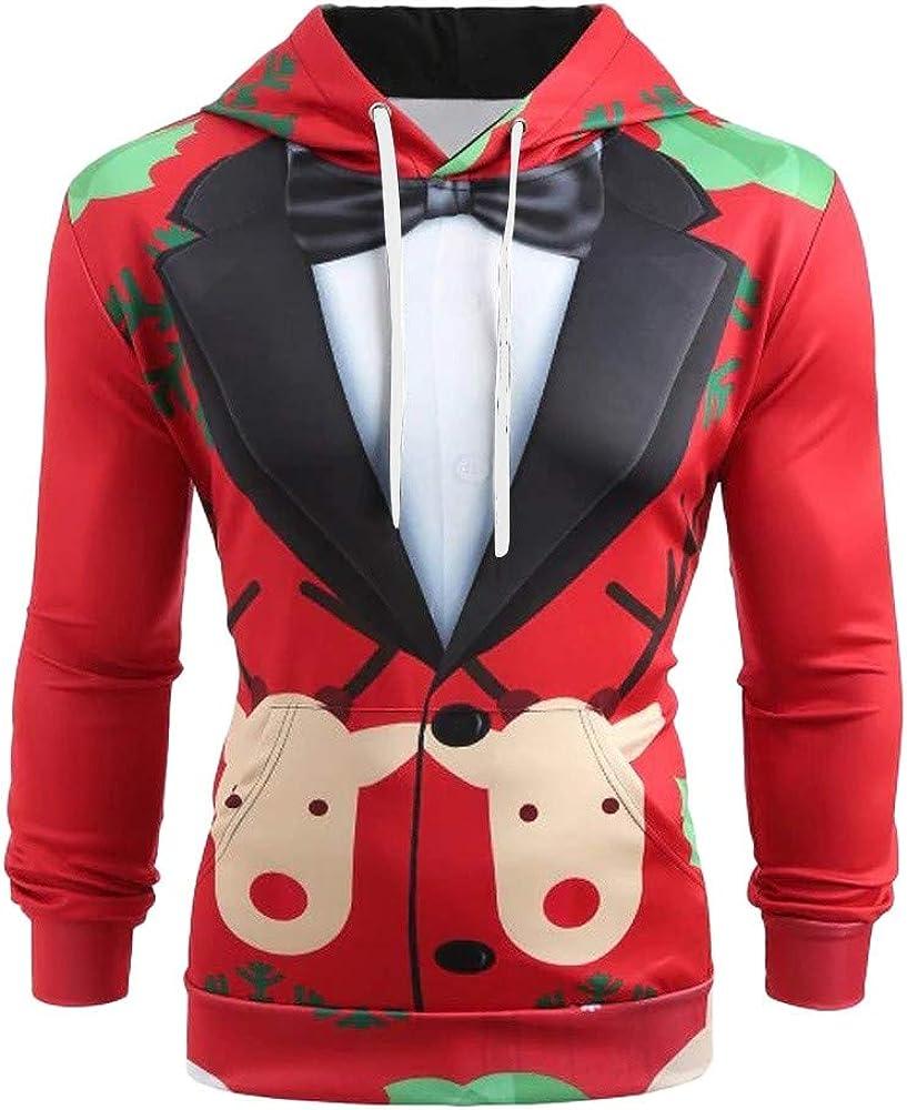 AKIMPE Men Christmas Suit Pattern 3D Print Long Sleeve Hoodie Caps Sweatshirt Pullover