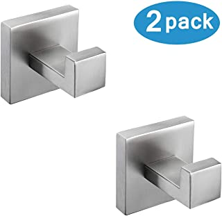 Nolimas Bathroom Towel Hook SUS304 Stainless Steel Square Clothes Coat Robe Hooks Cabinet Closet Door Sponges Hanger for Bath Kitchen Garage,Heavy Duty Wall Mounted,Brushed Nickel Finish,2pack