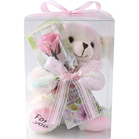 プリザーブドフラワー (クリアケースL 付き/虹色クマさんと一輪の薔薇/ピンク) プレゼント お祝い [ 記念日 誕生日 ] アレンジ リボン付き