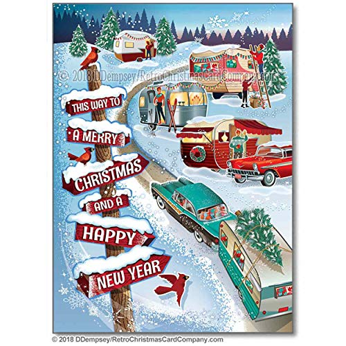 Winter Vintage Campers Christmas Cards, Package of 8