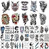 50 Pegatinas de Tatuaje temporales a Prueba de Agua y Sudor (10 Pegatinas de Tatuaje de Medio Brazo para Hombres y Mujeres) (40 Pegatinas de Tatuaje pequeñas y Frescas)