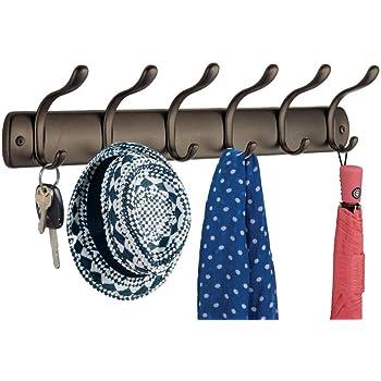 cappelli ideale per lingresso ecc ottimo anche per giacche Set da 2 con 4 ganci mDesign attaccapanni autoadesivo bianco borse asciugamani il bagno