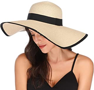 Womens Wide Brim Straw Hat Floppy Foldable Roll up Cap Beach Sun Hat UPF 50+