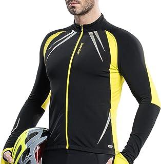 67837c4bd Santic Men s Cycling Jacket Windproof Fleece Thermal Winter Bike Bicycle  Jersey Yellow