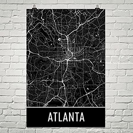 Atlanta Map Wood Wall Art Prints Custom Map Art Atlanta Print Wood Prints Wall Art Atlanta Georgia Travel Gifts Panel Effect Wood Art Print