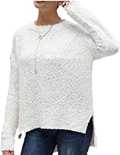 Women Winter Fuzzy Popcorn Sweater V Neck Long Sleeves Loose Fit Sweater Solid Tops Pullovers