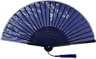 Holzkary Chinese Style Vintage Folding Hand Held Fan/Paper Fan/Feather Fan/Sandalwood Fan/Bamboo Fans for Wedding, Party, Dancing(21cm.Navy-Cherry Blossoms)