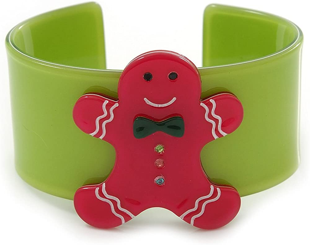 Avalaya Light Green, Magenta Crystal Acrylic 'Gingerbread Man' Cuff Bracelet - 19cm L