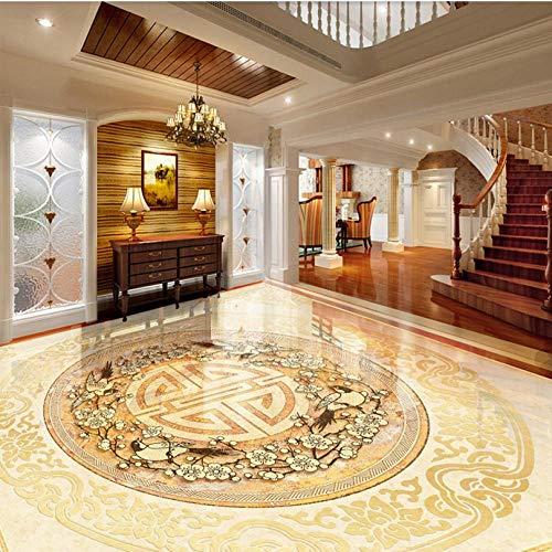 Aangepaste 3D-vloertegels muurschildering behang Europese stijl marmer luxe vloerbedekking stickers hotel woonkamer PVC vinyl muurschildering 200 x 140 cm.