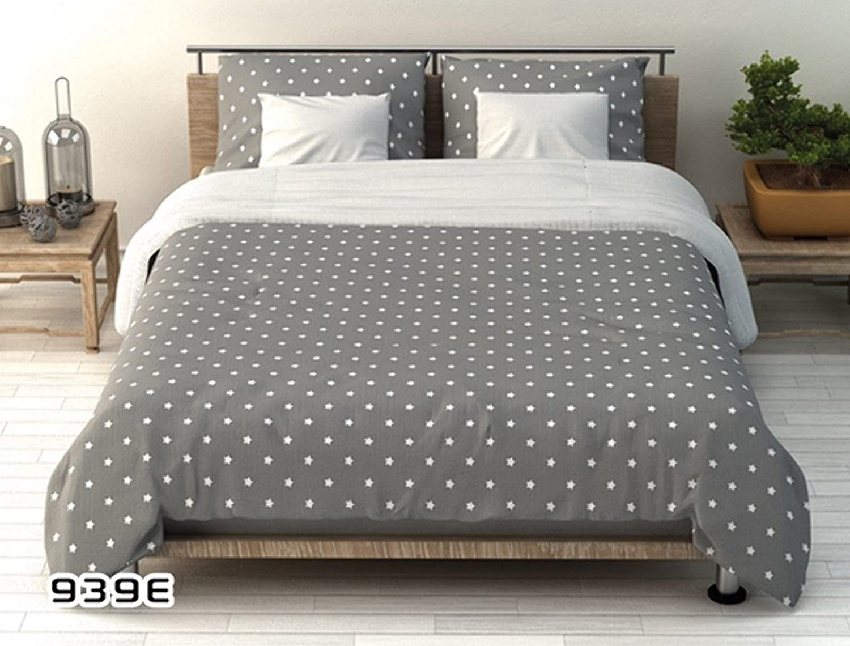 BSD Baumwolle Bettwäsche 180x200 Graue Weiße Sterne auf Beiden Beiden Beiden Seiten B07DLX3VC5 1a0671