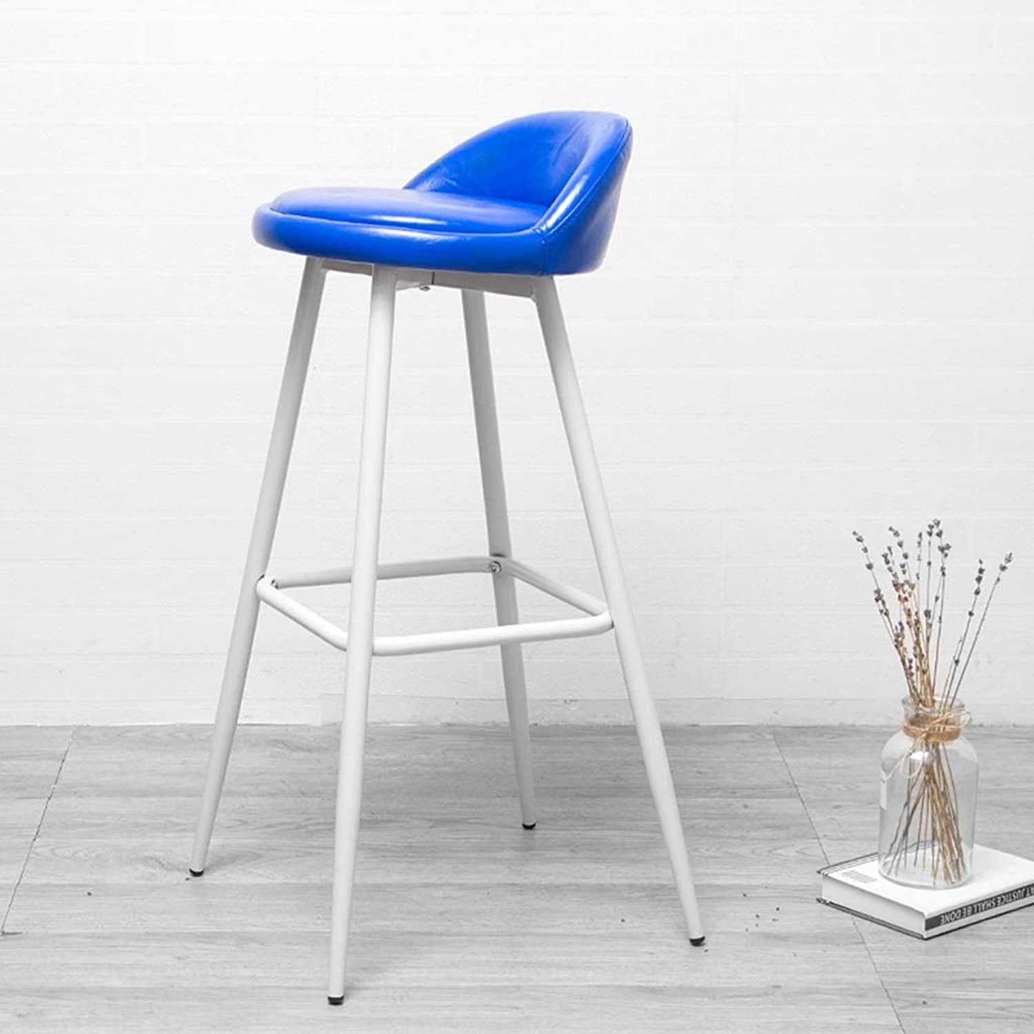 Creative Reception Bar Stool Nordic Style High Foot Chair Cafe Counter Restaurant Leather Seat Home Decoration 0525A (color   G)