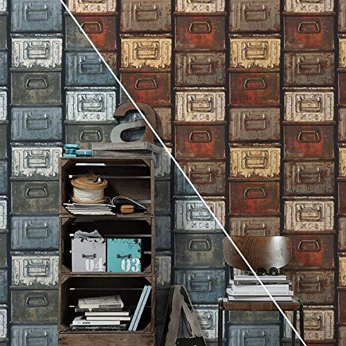 #patterned.wallpaper Loft Design Wohnzimmer Tapete Rustikale 3D Vliestapete Schlafzimmer Vintage Metallschrank Tapeten Made in Germany