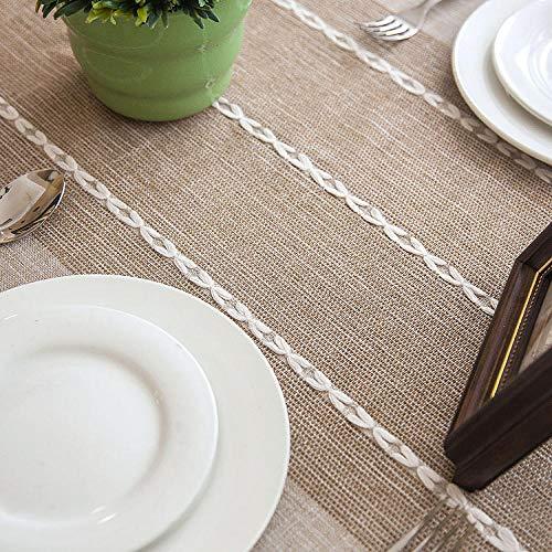 GTWOZNB Home Decorative Oxford Wipeable Tablecloth Waterproof tassel rectangle-Shallow Khaki + Tassel_120x120