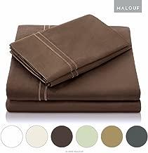 MALOUF 600 Thread Count Sheet Set-Egyptian Cotton-Split Cal King-Chocolate