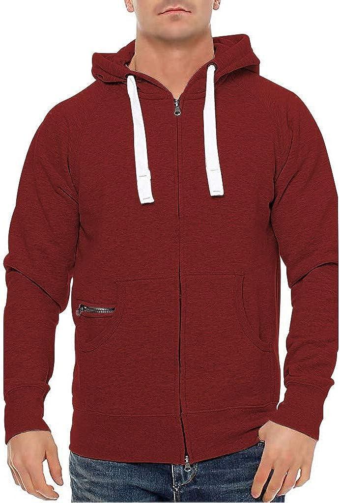 Miskay Men's Long Sleeve Hooded Sweatshirt Sport Solid Zipper Pullover Hoodie Jacket Outwear with Pockets