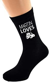 PERSONALISED NAME Loves Driving Tractor & Image printed Mens Black Cotton Socks