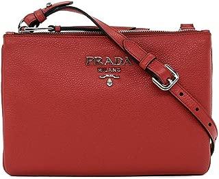Women's burgundy Red with Silver Hardware Vitello Phenix Leather Crossbody Handbag Bag 1BH046