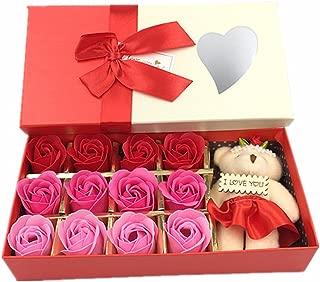 Kinteshun Bath Soap Rose Flower,Flora Scented Rose Petal Bouquet Gift Box I Love You Little Bear Doll(12pcs Rose,Gradually Varied Red)