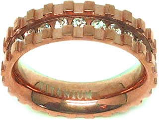 6mm - Man or Ladies - Titanium Rose Gold Plated Eternity Channel Set Rhinestone and Square Cut Design Wedding Band Ring