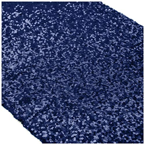 12''x72'' Navy Blue Sequin Table Runner Sparkly Metallic Sequin Runner for Wedding Party Dinner Reception, Event Bridalwedding Runner, Birthday Party, Dinner Party, Shower Ready to Ship!